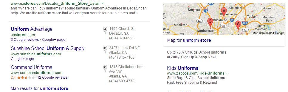 Google Plus Local Search result