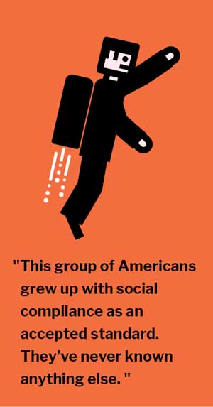 """This group of Americans grew up with social compliance as an accepted standard. They've never known anything else. """